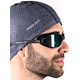 Taddlee Men Swim Cap PU Fabric Silicone Lycra Swimming Hat Pool Waterproof Sports Adult Swim Wear Accessories Large Size…