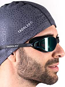 Taddlee Men Swim Cap PU Fabric Silicone Swimming Hat Pool Waterproof Sports Adult Swim Wear Accessories Large Size Outdoor