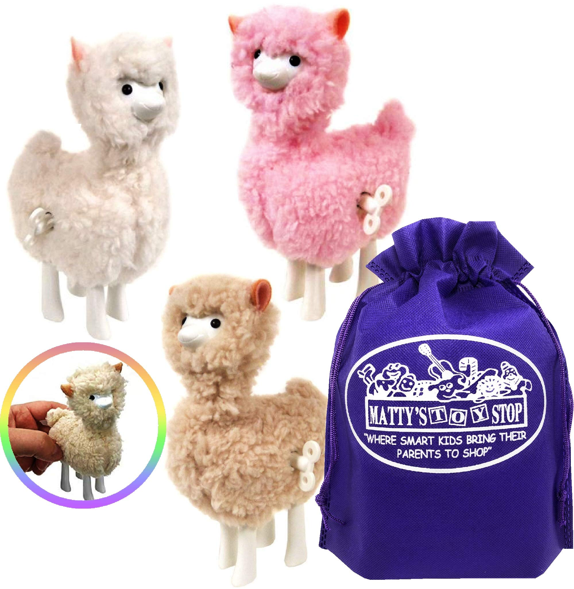 Schylling Llama Wind-Up Walkers White, Pink & Beige Gift Set Bundle with Matty's Toy Stop Storage Bag - 3 Pack by Schylling