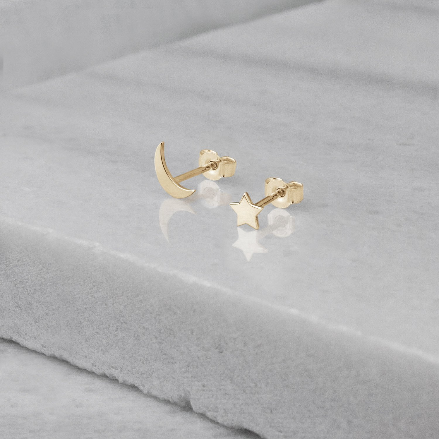 f2c8ad834 Tiny Moon Star Earrings, Mismatched Gold Studs, 9K, 14K, 18K Gold Earrings,  Yellow Gold Studs, Gold Crescent Moon, Gold Star Stud, Gift For Her, ...