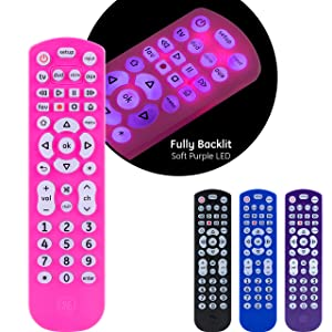 GE Universal Remote Control, Backlit, for Samsung, Vizio, Lg, Sony, Sharp, Roku, Apple TV, RCA, Panasonic, Smart TVs, Streaming Players, Blu-Ray, DVD, Simple Setup, 4-Device, Pink, 44221