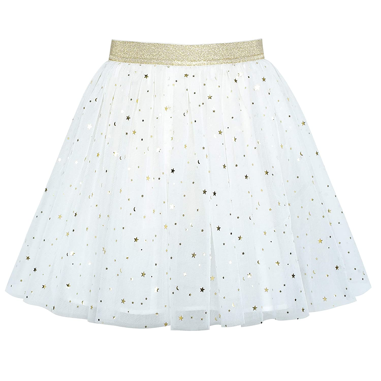 Sunny Fashion Girls Skirt Navy Blue Pearl Stars Sparkling Tutu Dancing Age 4-12 Years