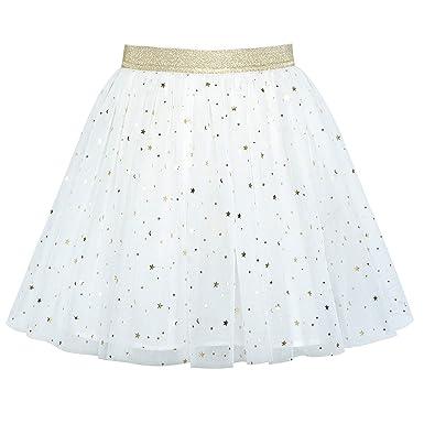 c34cb3710f6 Sunny Fashion Filles Jupe De Blanc Pétillant Or Étoile Lune Tutu Danse 4-5  Ans