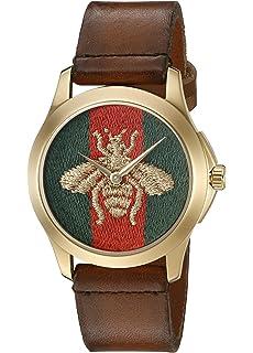 Gucci G-Timelss Analog ETA Quartz Brown Leather Watch(Model:YA126451)