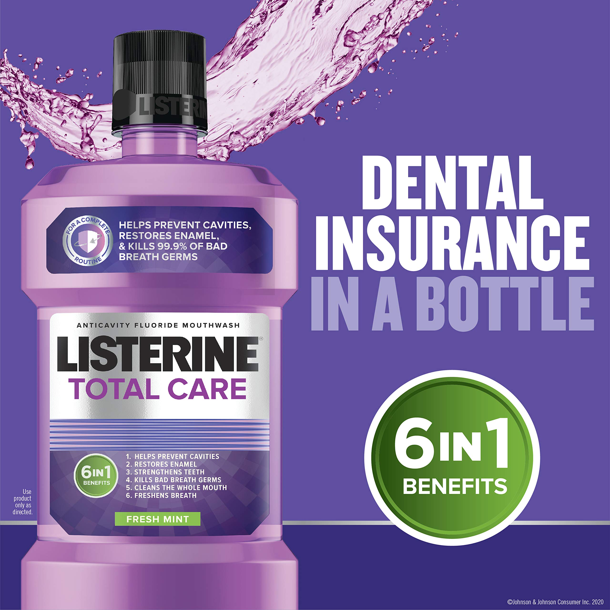 Listerine Total Care Anticavity Fluoride Mouthwash, 6 Benefit Mouthwash to Help Kill 99% of Germs that Cause Bad Breath, Prevent Cavities, Strengthen Enamel & More, Fresh Mint Flavor, 1 L