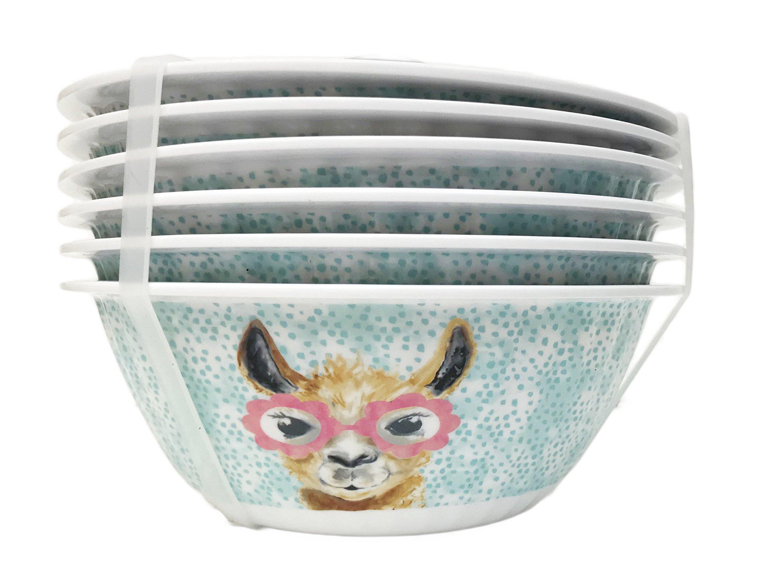 Cute Llama Face Wearing Pink Flower Eyeglasses Set of 6 Melamine Dipping Appetizer Snack Dessert Bowls