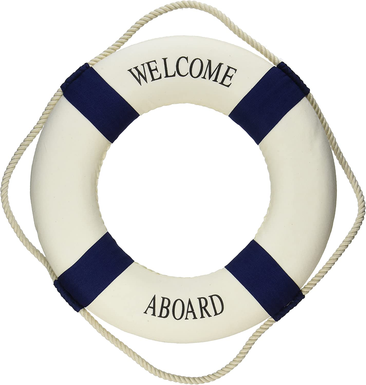 """Oliasports Welcome Aboard Cloth Life Ring Navy Accent Nautical Decor 13.5"""" New - Decoration Only"""