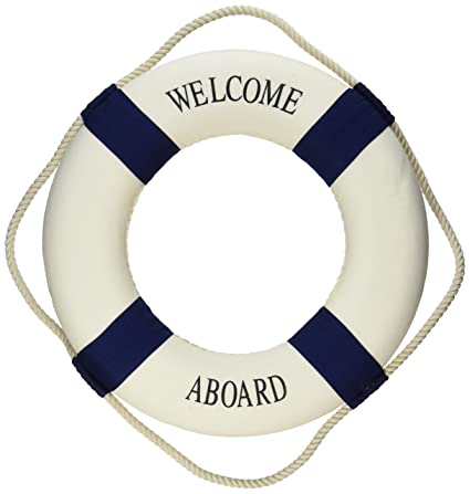 6337896def0e Amazon.com  Oliasports Welcome Aboard Cloth Life Ring Navy Accent Nautical  Decor 13.5