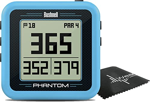 Bushnell Phantom Compact Handheld Golf GPS with Built-in Golf Cart Magnet and Wearable4U Cleaning Towel Bundle Blue