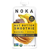 NOKA Nut Butter Smoothie Pouches (Banana Cocoa Peanut Butter) 6 Pack   100% Organic Fruit And Nut Butter Squeeze Packs…