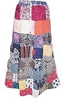 Mogul Interior Womens Festive Skirt Patchwork Stylish Rayon Bohemian Gypsy Multicolor Large