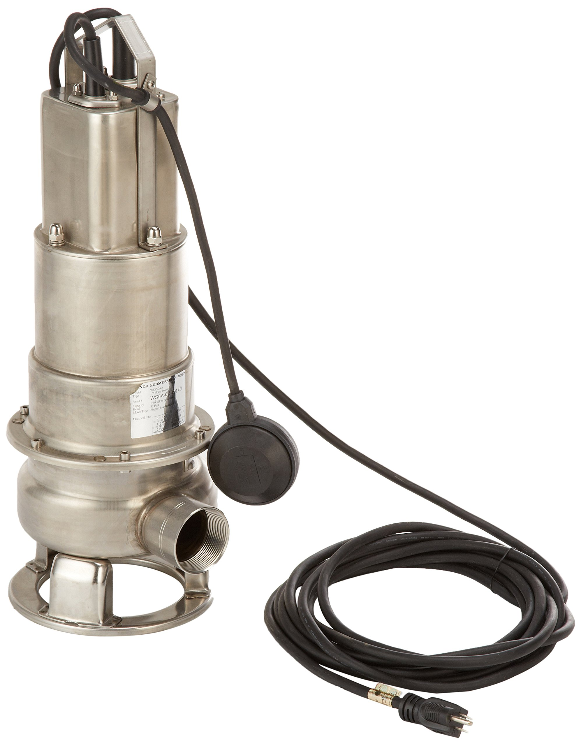 Honda WSP50 Submersible Trash Pump, Side Discharge, 1/2hp 115V, 2''