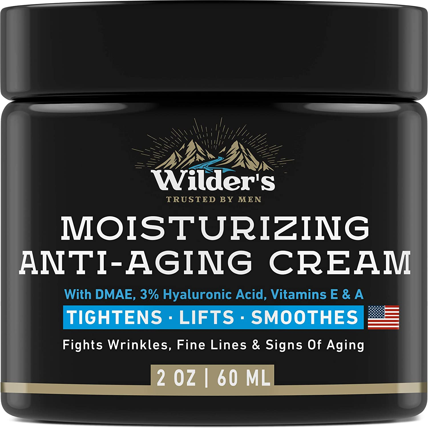 Men's Anti Aging Face Cream Moisturizer - Premium Skin Care for Men with Collagen, Retinol, Hyaluronic Acid - Made in USA - Fast Anti-Age Effect Day & Night - Wrinkle Free Facial Men Moisturizer 2Oz