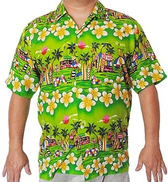 c7a1e0b27 Mens Hawaiian Shirt Surfboard MEDIUM & LARGE (Medium, Green): Amazon ...