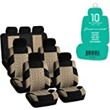 FH Group FH-FB071217 Complete Three Row Set Travel Master Seat Covers Beige/Black