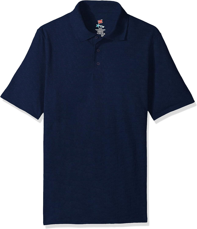 Hanes Men's Short Sleeve X-Temp W/ FreshIQ Polo, Navy, 3X-Large