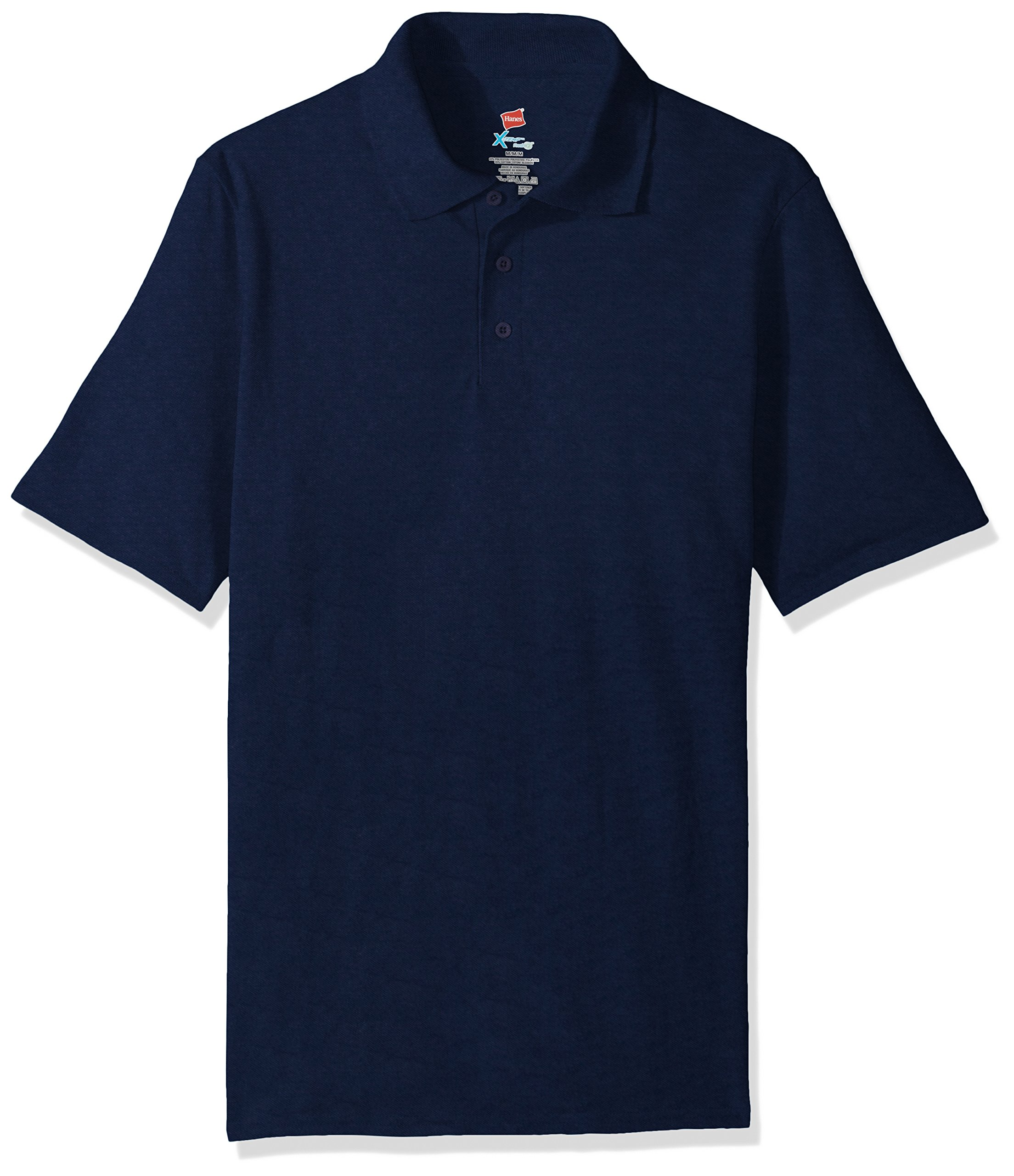 Hanes Men's Short Sleeve X-Temp W/FreshIQ Polo, Navy, XX-Large