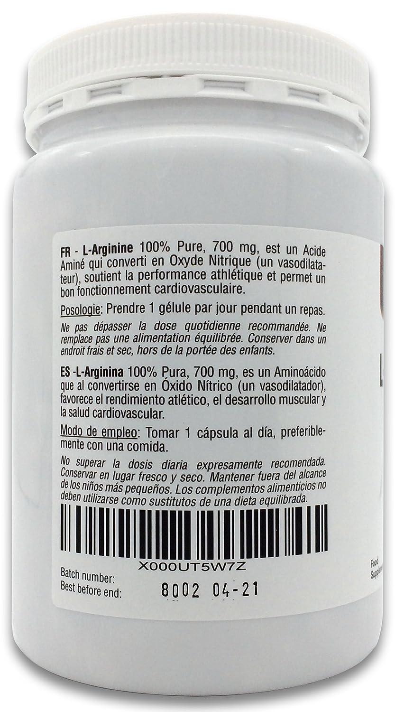 L-Arginina 100% Pura, 700 mg, 360 Cápsulas | Vasodilatador, favorece el rendimiento atlético, el desarrollo muscular y la salud cardiovascular | Vegano, ...