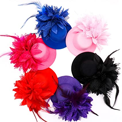 ee26ec84d HUELE 3 pcs Mini Top Hat Kids Hats Fascinators Hair Clip Hair Accessories  Fascinator Party Hats Dancing Cocktail Feather Headband Hair Clip