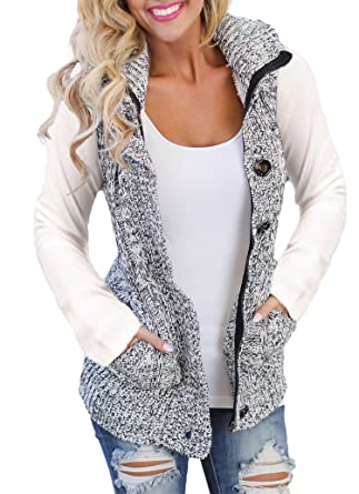 04e6cf6fc4551 Sidefeel Women Hooded Sweater Vest Knit Cardigan Outerwear Coat - Grey -   Amazon.co.uk  Clothing