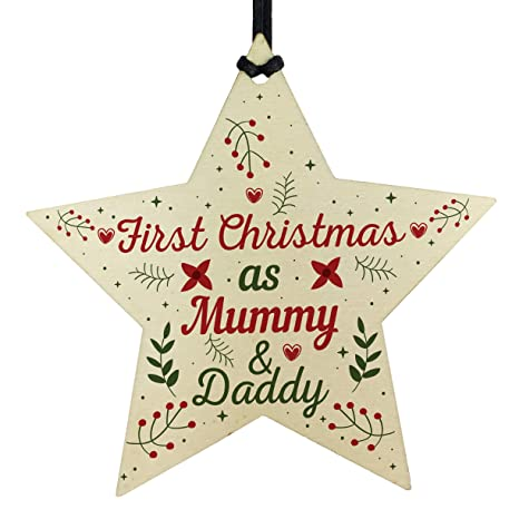 First Christmas As Mummy Daddy Wood Star Christmas Bauble Decoration Baby Gifts