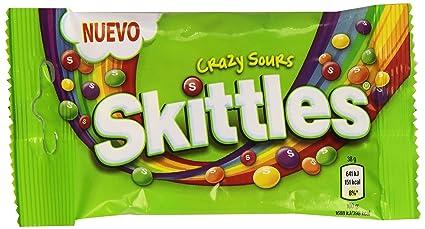 Skittles Crazy Sours Caramelos Masticables con una Crujiente Capa de Azúcar - 38 g