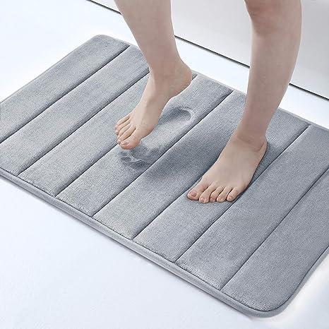 Memory Foam Soft Bath Mats Non Slip Absorbent Bathroom Rugs Rubber Back Runner Mat for Kitchen Bathroom Floors 16x24 Navy Blue