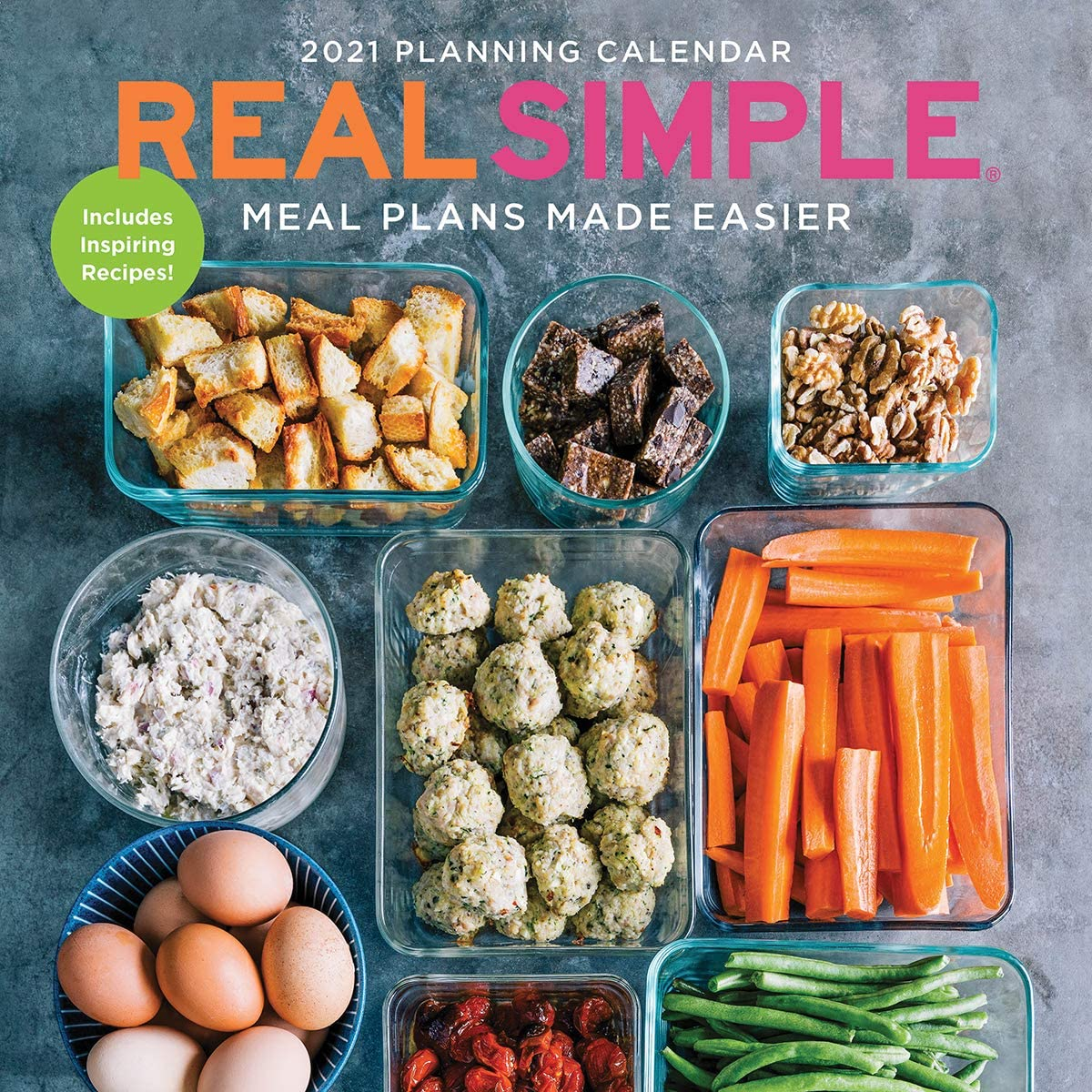 TF PUBLISHING 2021 Real Simple-Meal Plans Made Easier Monthly Wall Calendar - Space for Menu and Notes - Kitchen Cook Planning - Matte 12