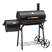 Landmann Tennessee 200 BBQ-Smoker XXL schwarz Garten ✔ Rollen ✔ Deckel ✔ Ablagefläche ✔ rund ✔ rollbar ✔ stehend grillen ✔ Grillen mit Holzkohle ✔ mit Station ✔ mit Rädern