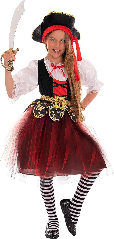 Magicoo Disfraz de Pirata para niña, Talla 110, 116, 122, 128, 134 ...