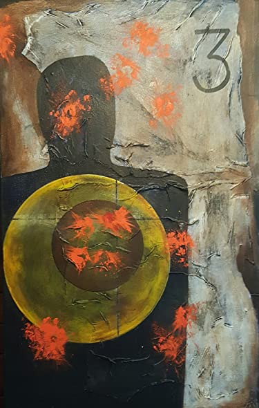 amazon com abstract target painting c steven paul riddle fine art