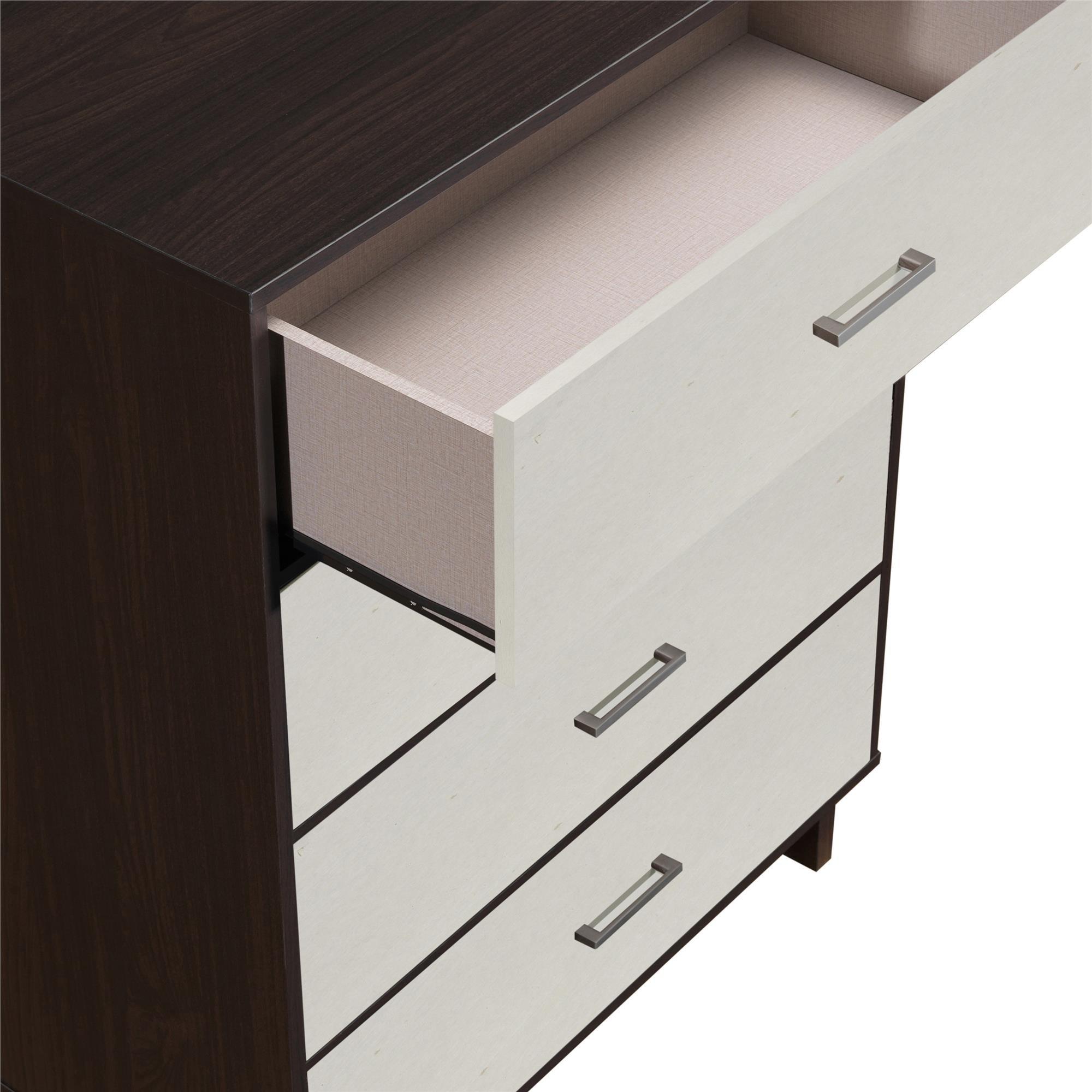 Ameriwood Home Colebrook 4 Drawer Dresser, Espresso/Vintage White