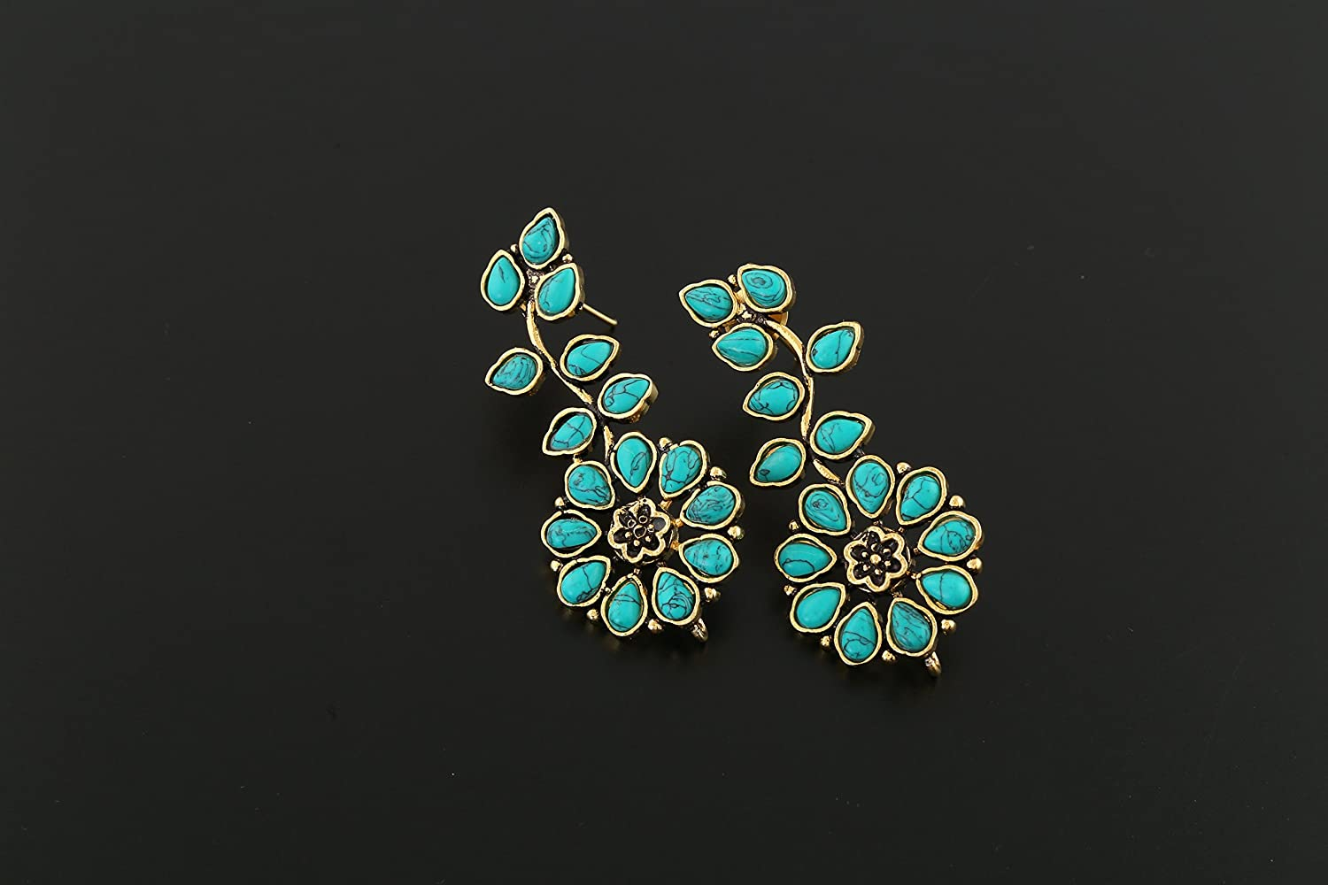 Anuradha Art Turquoise Colour Studded Sparkling Stone Floral Styled Wonderful Oxidised Long Earrings For Women//Girls