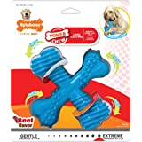 Nylabone Power Chew Extreme Chewing Comfort Hold X Bone Power Chew Durable Dog Toy Beef Giant, Blue