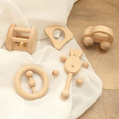 Baby Rattle Wooden fish toy Montessori wood teether Organic Wooden Teether Wooden Teether