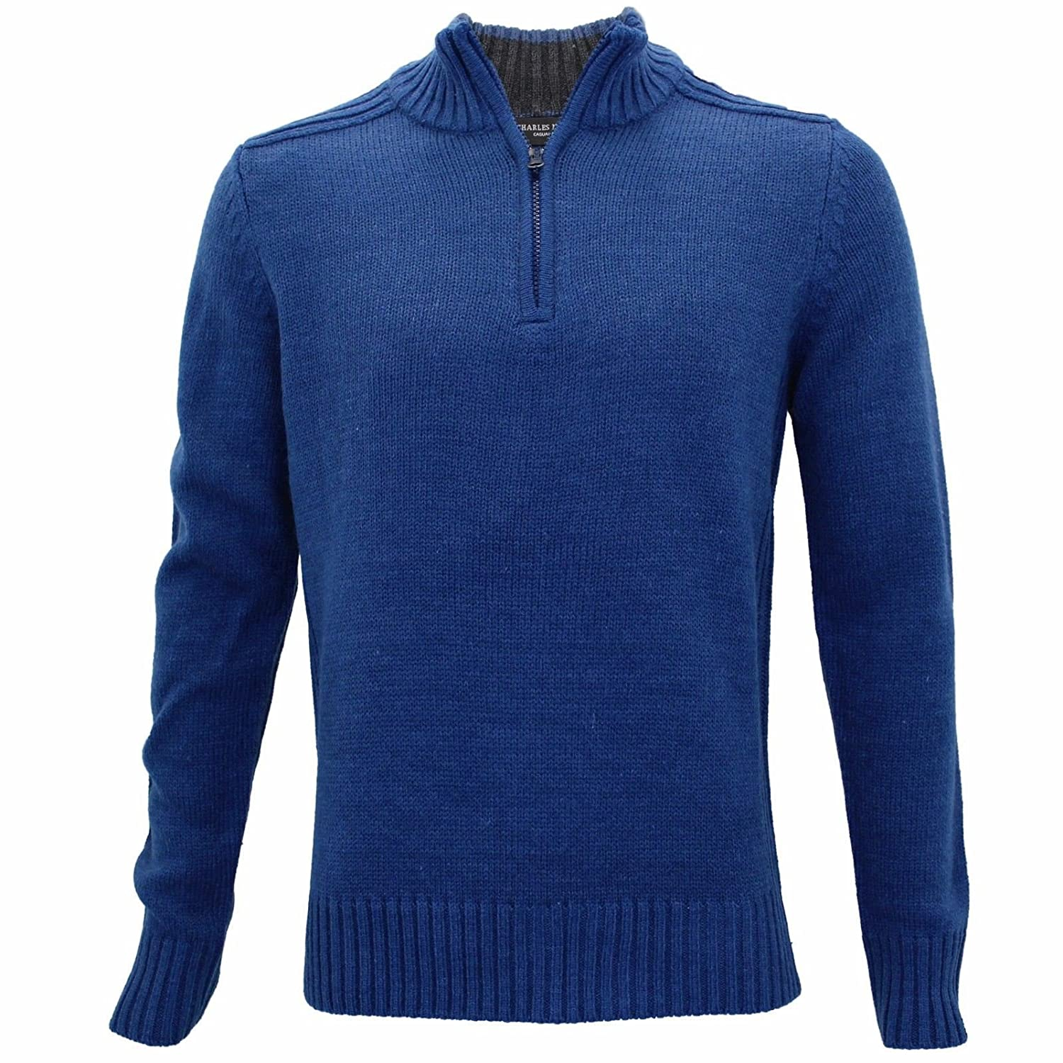 bce6d063e1fb2d Charles Norton Mens Funnel Neck Zip Up Sweatshirt Casual Knitted Pullover  Jumper  Amazon.co.uk  Clothing