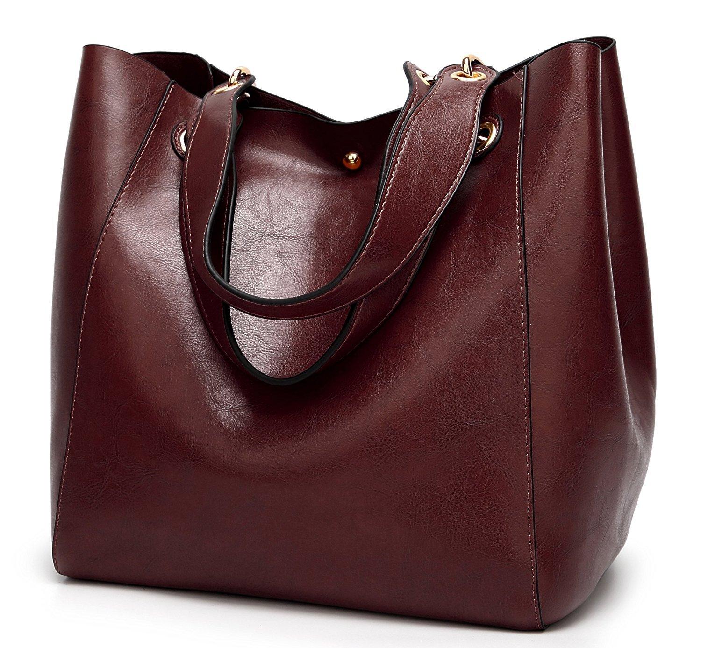 Halemet Women PU Leather Big Shoulder Bag Purse Satchel Handbag Tote Bags