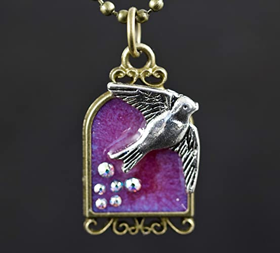 e6fdcdce4ba4 Image Unavailable. Image not available for. Color  Bird Cage Swarovski  Crystal Pink Resin Pendant