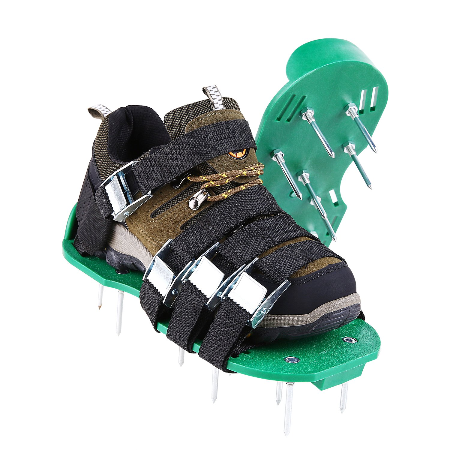 Ohuhu Lawn Aerator Shoes, 4X Adjustable Aluminium Alloy Buckles & 1x Heal Elastic Band Unique Design | Heavy Duty Spiked Sandals for Aerating Your Lawn or Yard