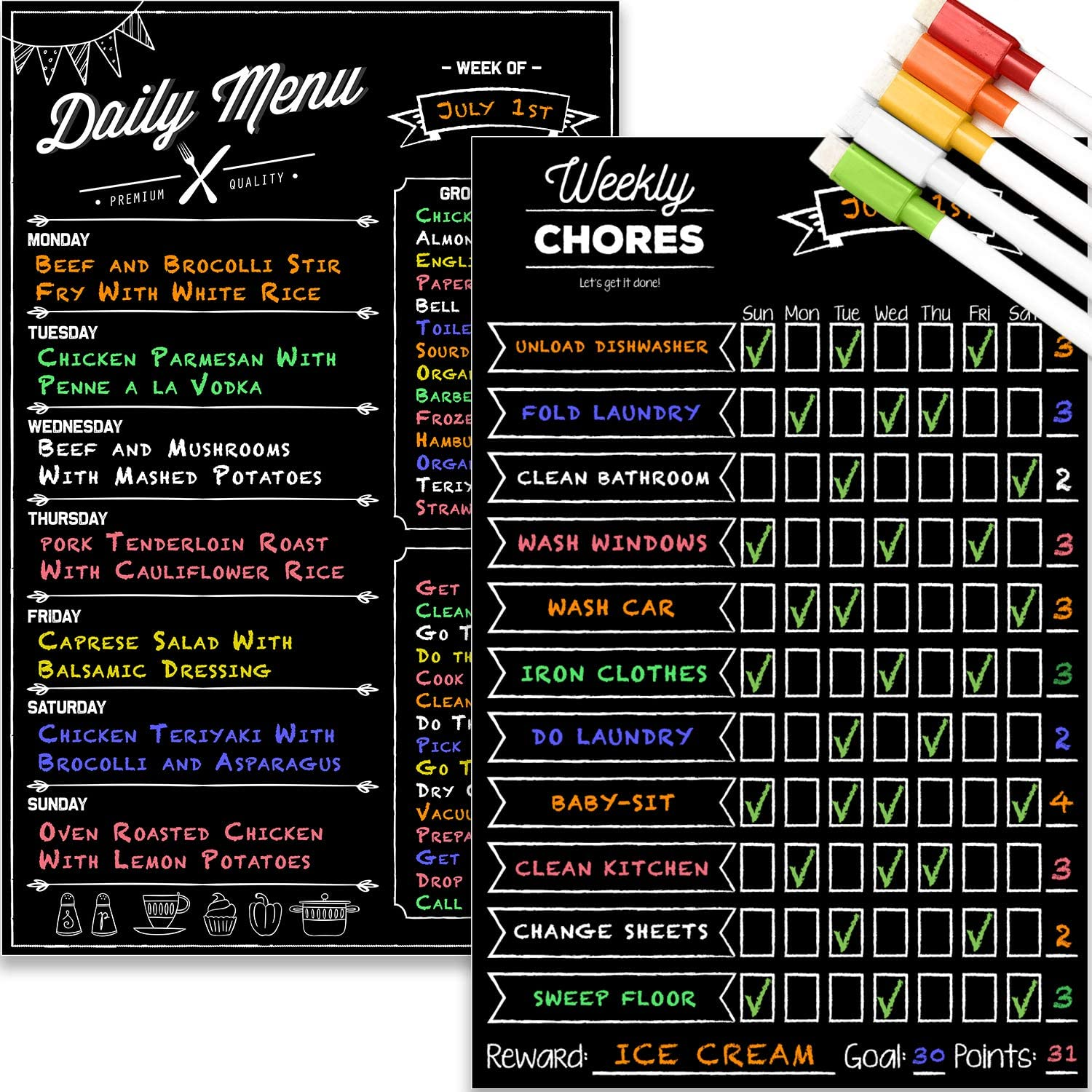 "Magnetic Dry Erase Chore Chart and Menu Board Set for Kitchen Fridge - 11"" x 17"" Responsibility & Behavior Refrigerator Reward Incentive for Kids - 11"" x 17"" Weekly Meal Planner Blackboard"