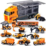 JOYIN 11 in 1 Die-cast Construction Truck Vehicle Car Toy Set Play Vehicles in Carrier for Over 3 Years Old Boys