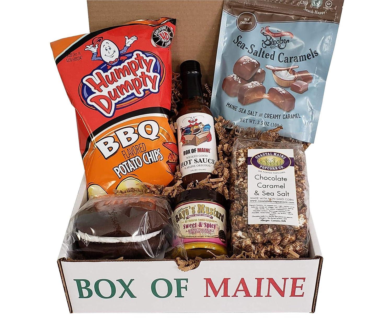 Box of Maine Sweet and Spicy Box - 6 Item Gift Set (Raye's Mustard, Wicked Hot Sauce, Chocolate Whoopie Pie, Chocolate Carmel & Sea Salt Popcorn, Bixby Caramels, Humpty BBQ Chips)