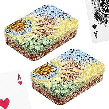 PracticDomus Set de 2 Barajas de Cartas de Póker en Estuche Metálico, Diseño de Giordano di Ponzano. Colección Gaudi: Amazon.es: Juguetes y juegos