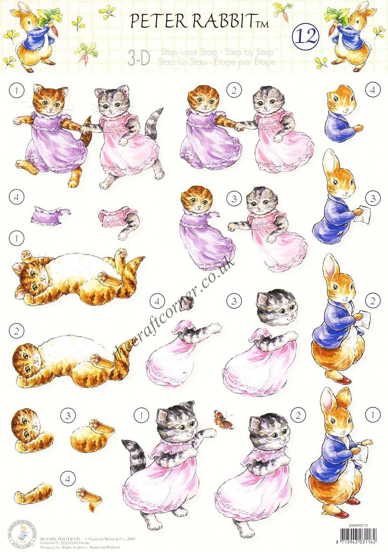 Beatrix Potter\u0027s Peter Rabbit 12 Peter Rabbit \u0026 Kittens 3d Decoupage Sheet