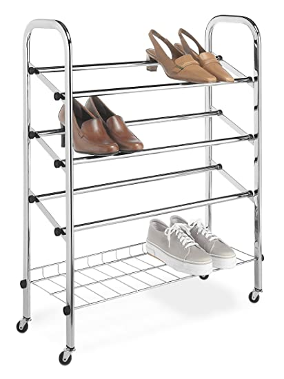 Attrayant Whitmor Adjustable Rolling Shoe Rack