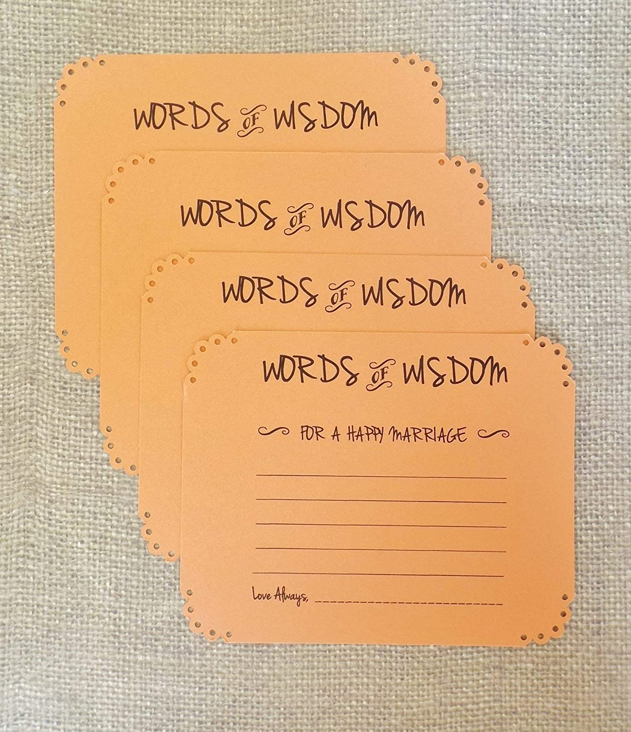 Orange Words of Wisdom Marriage Advice Cards Wedding Bridal Shower Wishes Guest Book Set of 20