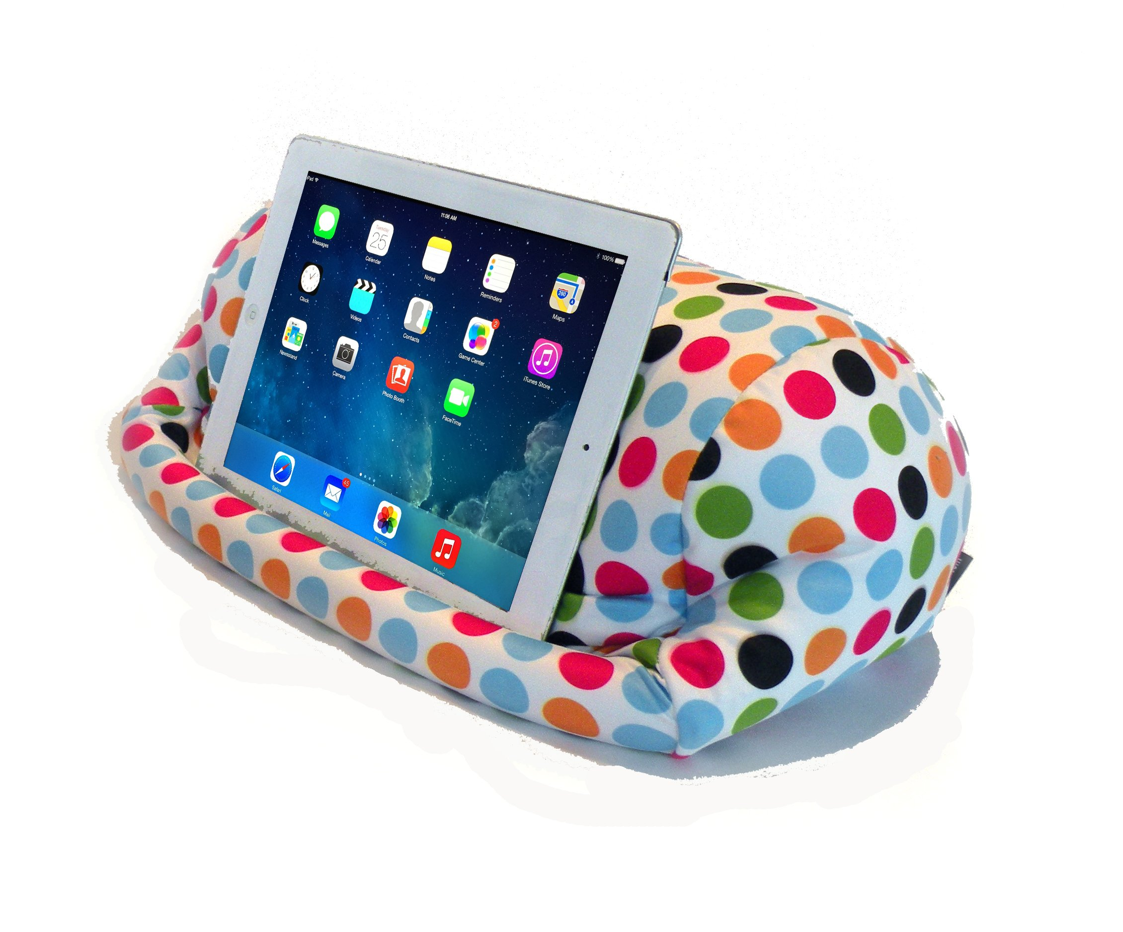 LAP PRO - Stand/Caddy, Universal Beanbag Lap Stand for iPad Pro, iPad Air,1,2,3 & all Tablets, E-Readers, Books & Magazines - Bed, Couch, Travel - Adjustable Angle; 0 - 89 deg. (Polkadot) by Renegade Concepts