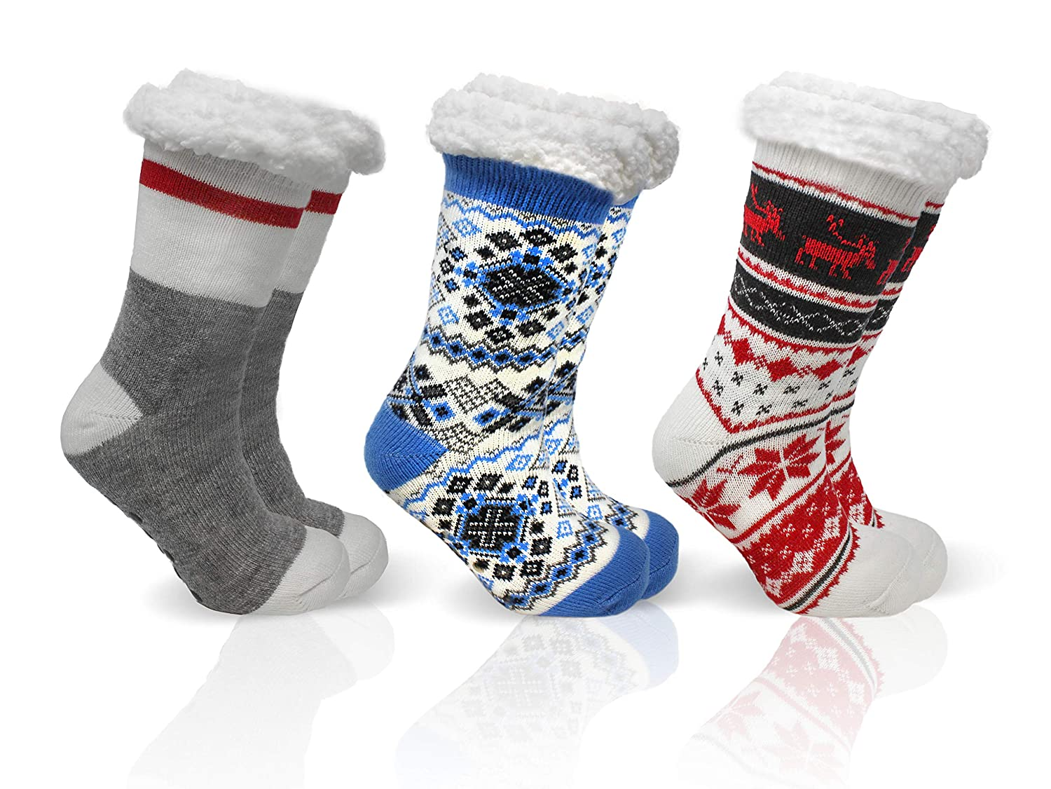 B& CO ApparelCozies (3) Pair Pack Women's Sherpa Lined Slipper Socks with Anti-Skid