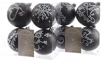 Schwarz Weiße Christbaumkugeln.8 Christbaumkugeln Merry Christmas Schwarz Weiß Durchmesser 8 Cm