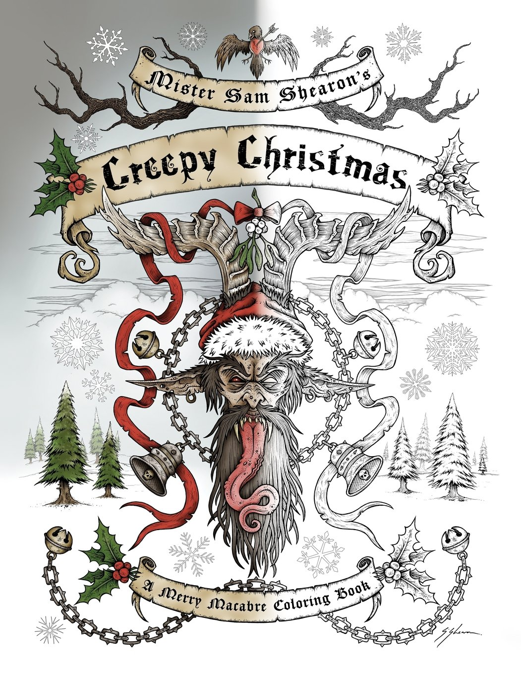 amazoncom mister sam shearons creepy christmas a merry macabre coloring book 9781944109226 sam shearon books